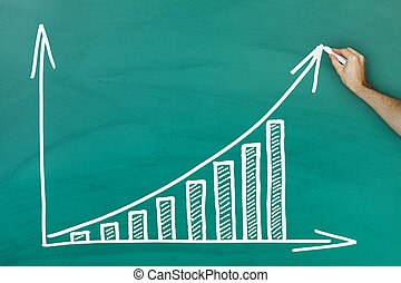 Hand writing on profit growth chart blackboard