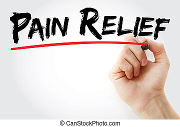 Hand writing Pain Relief with marker, health concept background