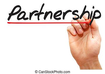 Hand writing Partnership, business concept