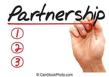 Hand writing Partnership List, business concept