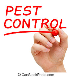 Pest Control - Hand writing Pest Control with red marker on...