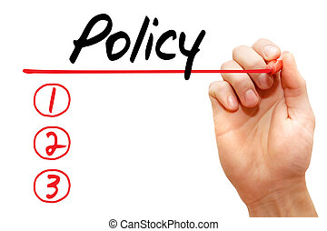 Hand writing Policy List, business concept