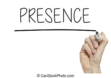 Hand writing presence on a white board