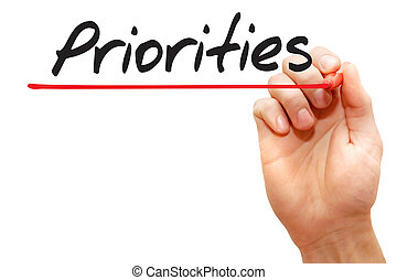 Hand writing Priorities, business concept
