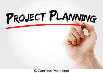 Hand writing project planning with marker