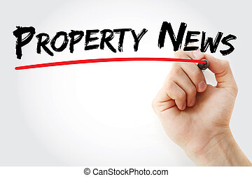 Hand writing Property News with marker
