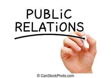 Hand writing Public Relations with black marker on transparent wipe board.