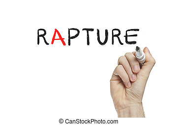 Hand writing rapture on a white board