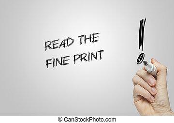 Hand writing read the fine print