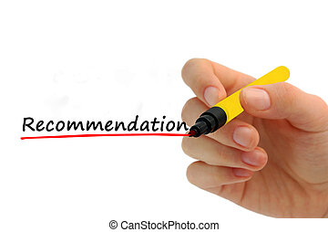 Hand writing recommendation with red marker on transparent wipe board business concept