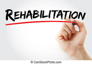 Hand writing Rehabilitation with marker, concept background