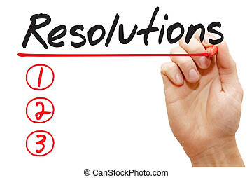 Hand writing Resolutions List, business concept - Hand...