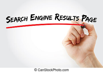 Hand writing Search Engine Results Page with marker, concept...