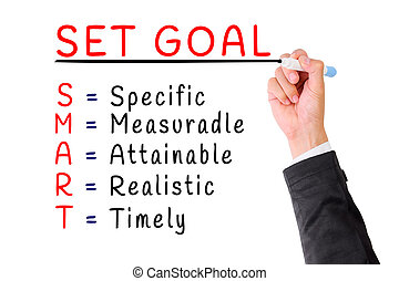 Hand writing smart goal isolate on white - Hand writing ...
