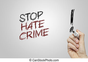 Hand writing stop hate crime