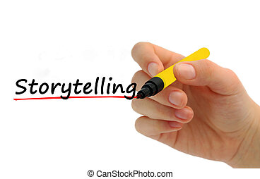 Hand writing storytelling with red marker