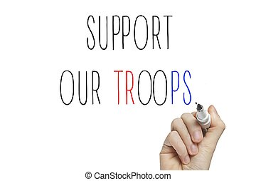 Hand writing support our troops on a white board