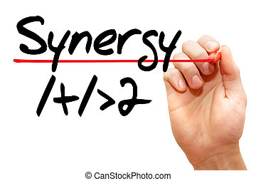 Hand writing Synergy 1+1>2, business concept