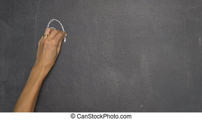 "Hand writing Thai letter ""?"" on black chalkboard - Woman's..."