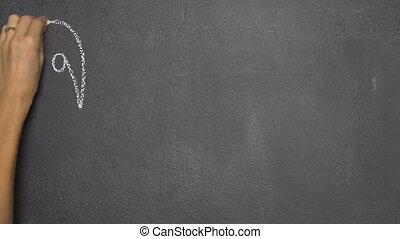 "Hand writing Thai letter ""?"" on black chalkboard - Woman's..."