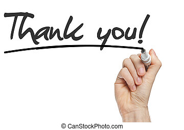Hand writing Thank You with black marker on transparent wipe...