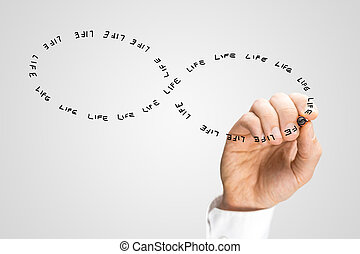 Hand Writing the Word Life in Figure Eight Shape