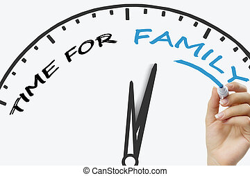 Hand writing Time For Family concept with blue marker on transparent wipe board