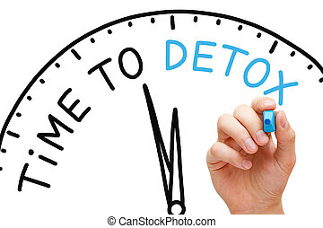 Time to Detox - Hand writing Time to Detox concept with blue...