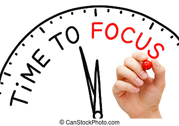 Time to Focus - Hand writing Time to Focus concept with red...