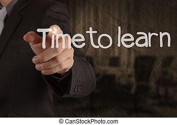 hand writing Time to Learn with meeting room on crumpled recycle paper background as concept