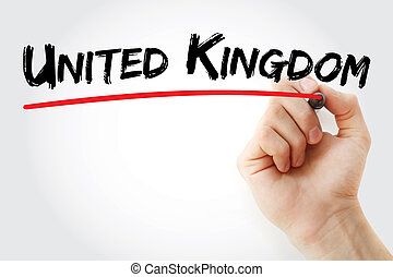 Hand writing United Kingdom with marker
