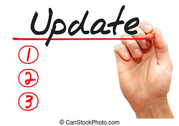 Hand writing Update List, business concept - Hand writing ...