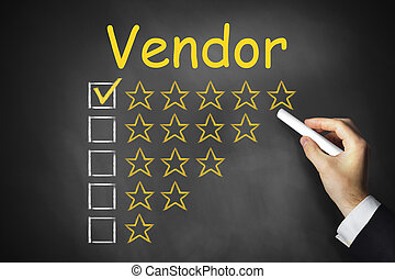 hand writing vendor on chalkboard ranking - hand writing...