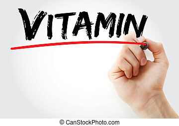 Hand writing Vitamin with marker, health concept background