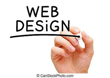 Web Design - Hand writing Web Design with black marker on...