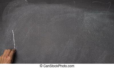 "Hand writing ""WELCOME"" on black chalkboard - Woman's hand..."