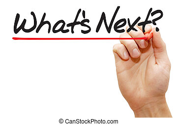 Hand writing What's Next with red marker, business concept