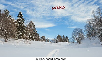 Hand Writing white Merry Christmas animation calligraphy...