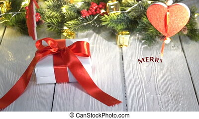 Hand Writing white Merry Christmas animation calligraphy...