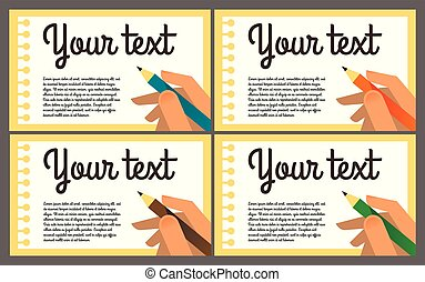 Hand writing with a pencil record. Notebook Sheet, Diary, paper, note. The writer, a student. Pencils of different colors. Template for text. Flat colorful design. Vector illustration