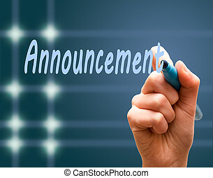 Hand writing with maker an announcement blue background