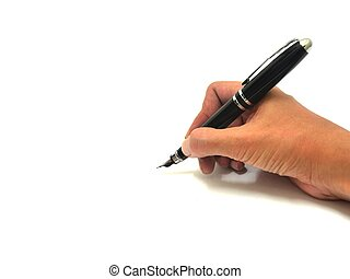 Hand Writing with Pen Over White