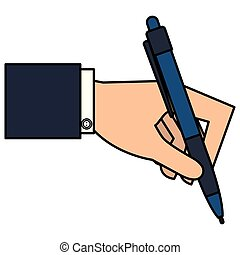 hand writing with pen vector illustration design