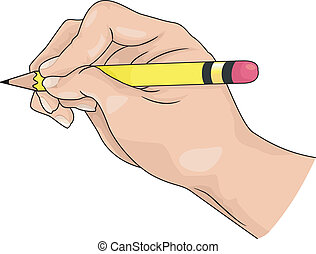 Illustration of hand holding a pencil for writing; drawing
