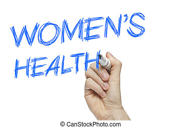 Hand writing women's health on a white board - female issues...