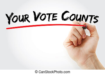 Hand writing Your Vote Counts with marker