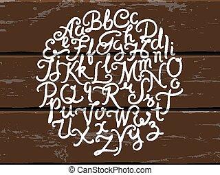 Hand written alphabet