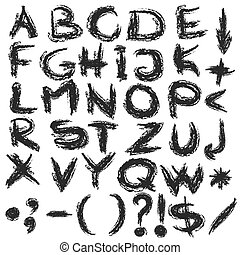 hand written alphabet letters