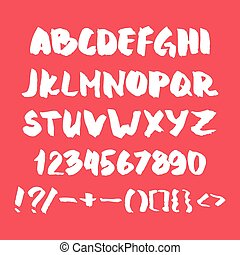 Hand written alphabet with numbers and symbols.