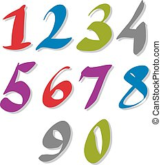 Hand written colorful vector numbers, stylish drawn numbers set.